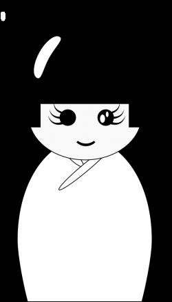 Kokeshi Doll Black And White Clipart