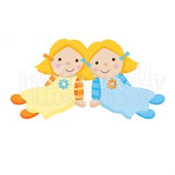 Twin Dolly Cute Digital Clipart Play Dolls Clip art Rag Doll