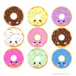 Kawaii Donuts Cute Digital Clipart, Donut Clipart, Donut Graphics, Cute  Kawaii Graphics, Kawaii Clip art, Sprinkled Donut, Instant Download