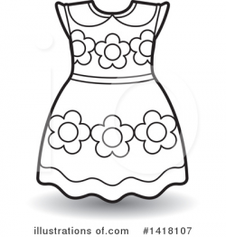 Dress Clipart #1418107 - Illustration by Lal Perera