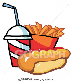 Vector Art - Hot dog with french fries and drink. EPS ...