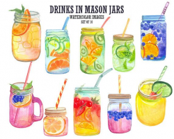 Watercolor clipart Mason jar clip art Cocktails clipart by ...