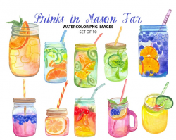 Beautiful cocktail clip art - Watercolor drinks illustration - Kitchen  clipart