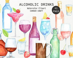 Watercolor drinking | Etsy