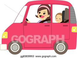 EPS Vector - Mom driving car with baby. Stock Clipart ...