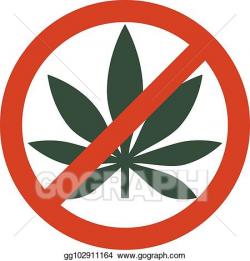 Vector Stock - Marijuana leaf with forbidden sign - no drug ...