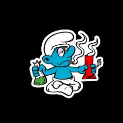 Blue Cartoon Hitting A Bong Sticker | Vinyl Stickers | Marijuana ...