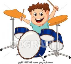 Vector Clipart - Little boy playing drum. Vector ...
