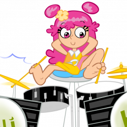 Ami playing the drums with her feet by waffengrunt on DeviantArt