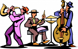 Jazz Trio Play Saxophone, Drum and Bass - Vector Image