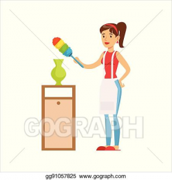 EPS Vector - Woman housewife wiping the dust of vase with ...