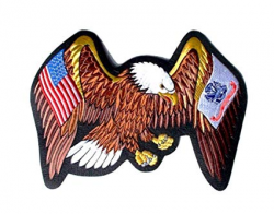US Army And USA Flags On Eagles Wings Large Embroidered Back Patch 13