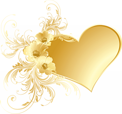 Gold Heart with Flowers PNG Picture | Gallery Yopriceville - High ...