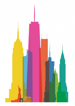 New York City Skyline Watercolor painting Canvas print Clip art ...