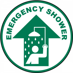 Emergency Shower Floor Sign P4358 - by SafetySign.com