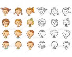 Kids emotions clipart set, vector illustrations, digital svg and png files,  design elements