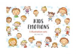 Kids emotions bundle, children with various emotion, kids clipart, children  clipart, emotions clipart, clipart commercial use, kids doodle