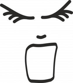 Clipart - Screaming face line drawing