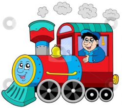 Cartoon Train Engine | with engine driver stock vector clipart ...