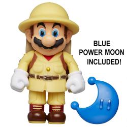 "Nintendo Super Mario Explorer Mario 4"" Articulated Figure with Blue Power  Moon"