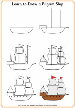 Learn to draw a pilgrim ship #earlyamericanhistory #pilgrims ...
