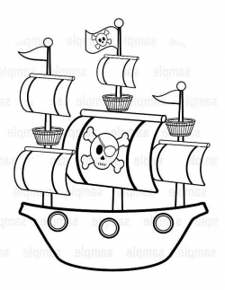 Pirate Boat Drawing | Free download best Pirate Boat Drawing ...