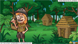 A Young Explorer and Grass Huts In A Jungle Background