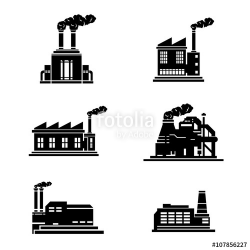 A vector illustration of heavy industry building icons ...