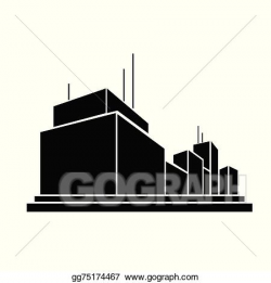 Vector Stock - Factory business office building silhouette ...