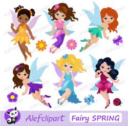 Cute Fairies Fairy Clipart commercial use Digital Clip art Instant ...