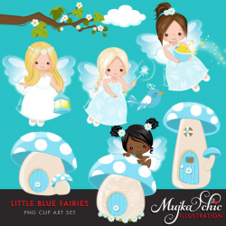 Little Blue Fairy Clipart. Cute Fairies Dressed up in Fairyland, Mushroom  homes and magic graphics!