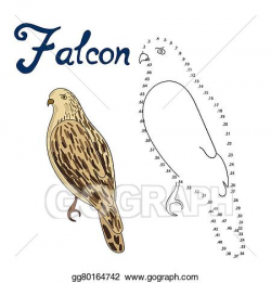 EPS Illustration - Educational game connect dots draw falcon ...