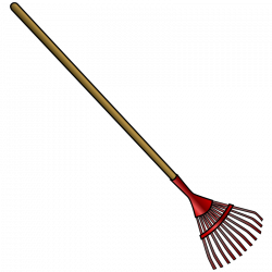 Clipart Leaf Rake Clipartsco, Cartoon Garden Tools - Outdoor