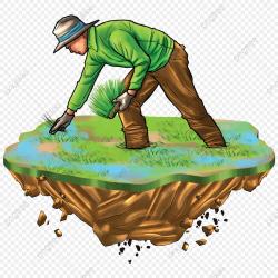 Cartoon Farmer Planting, Cartoon Clipart, Farmer, Transplant ...