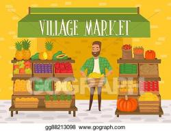 Clipart - Farmers market. local farmer shopkeeper. Stock ...