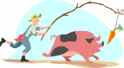 Pig Chasing Carrot on Stick - Vector Image