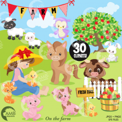 Farm Clipart, Boy and Girl Farmers, Sheep, Red Barn Vectors |  AMBillustrations
