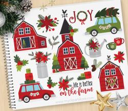 Christmas Farmhouse Clipart