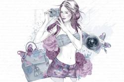 Photography Clipart, Camera Girl Clipart, Fashion ...