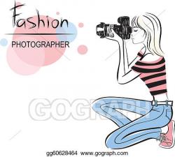 Clip Art Vector - Beauty fashion photographer girl. Stock ...
