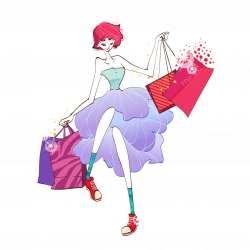 Woman Shopping Cartoon Illustration - Fashion Shopping Girl 1276 ...