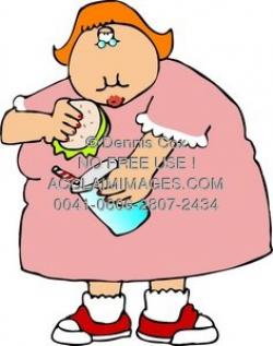 Clipart Illustration: Fat Girl