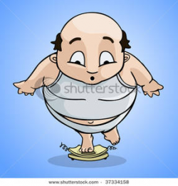 Royalty Free Clipart Image: A Fat Man Weighing Himself and ...