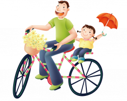 Daughter Father Birthday Wish Parent - Father and daughter cycling ...