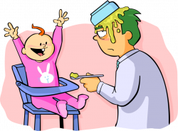 Father Feeds Baby - Vector Image