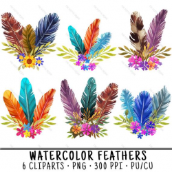 Watercolor Feathers, Feather Clipart, Feather Clip Art, Floral Feathers  PNG, PNG Floral Feathers, Feathers PNG Floral, Watercolor Clipart