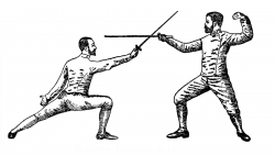 Vintage Sports Clip Art - Fencing, Tennis?, Golf - The Graphics Fairy