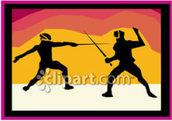 A Silhoutte of Two People Fencing Royalty Free Clipart Picture