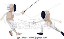 Vector Clipart - Two people doing fencing. Vector ...