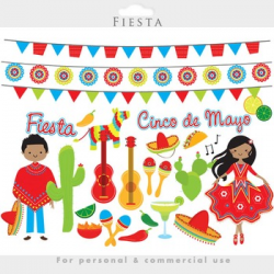 Fiesta clipart - Mexican cinco de mayo dancing pinata guitars cactus ...